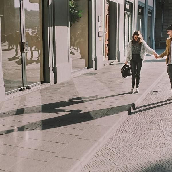 Vlad si Flavia pe străzile Florenței.